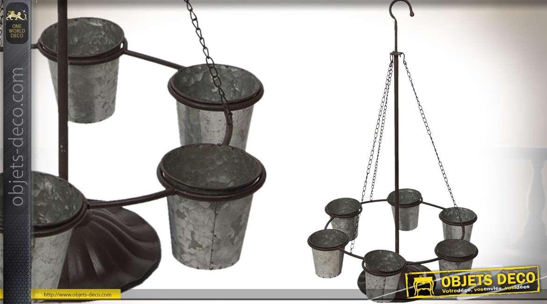 Jardinière Suspendue à Six Pots Finition Zinc Ancien 90 Cm