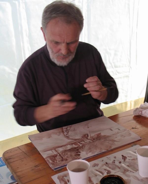 Mladen Mitar, povjesničar umjetnosti i muzealac, s kistom se odlično snalazi (Snimila Božica Brkan / Oblizeki)
