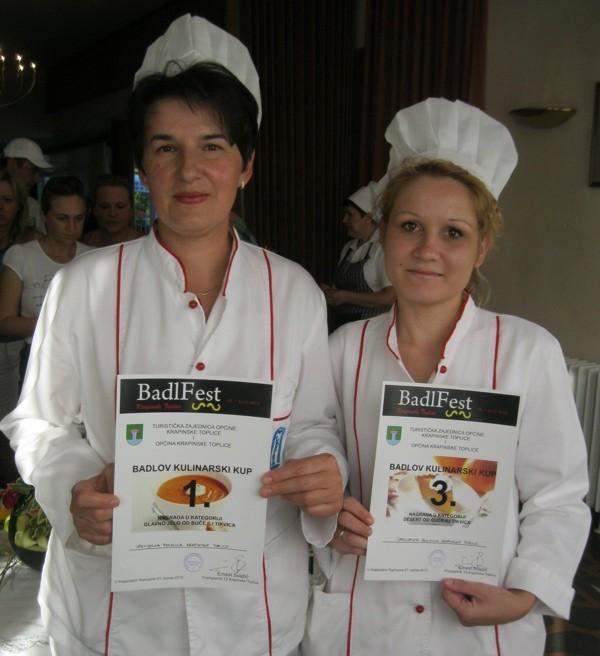 Prve u pripremi toploga glavnoga jela i treće u pripremi deserta šarmante chefice iz Specijalne bolnice Krapinske Toplice Gordana Lovrenčić i Nikolina Đurđan (Snimio Miljenko Brezak / Oblizeki)