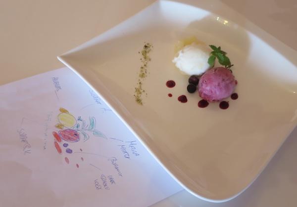 Crtež i izvedba: sorbet u dvije boje i dva okusa (Fotografija Božica Brkan / Oblizeki)