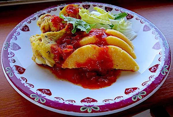 Lijepo oblikovana palenta poslužena s piletinom, zelenom salatom i crvenim umakom (Fotografija Božica Brkan / Oblizeki)