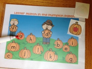 letter sound match in the pumpkin patch