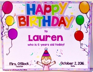 student birthday certificate editable