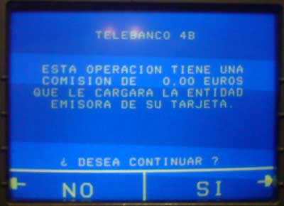 Telebanco 4B. Esta operación tiene una comisión de 0,00 euros