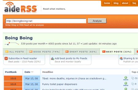 Captura de la web AideRSS.com