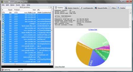 Captura de pantalla del debugger HTTP Fiddler