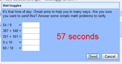 Antes de enviar un correo, GMail te pide que hagas, en menos de un minutos, cinco cálculos matemáticos. En el ejemplo, 54 entre 9, 387 más 148, 201 + 161, 9 por 10 y 60 entre 10