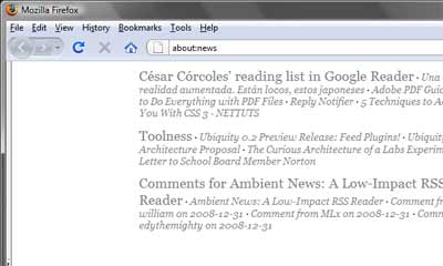 Captura de pantalla de la extensión Ambient News en funcionamiento