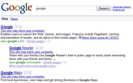 El resultado de una búsqueda devuelve la advertencia This site may harm your computer para varios sitios Google