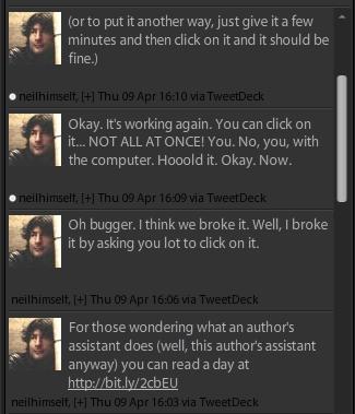 Captura de los 'tuits' de Neil Gaiman. Explicados en el texto a continuación