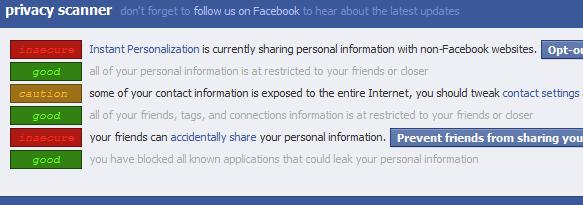 Captura de pantalla del escáner de privacidad comentado en el texto. Muestra dos agujeros importantes