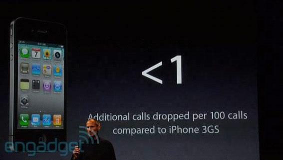 Una diapositiva de una presentación afirma que hay menos de una llamada interrumpida adicional por cien llamadas al comparar el iPhone 4 con el iPhone 3GS