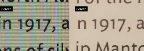 Foto de dos pantallas (iPad y Kindle) mostrando la misma tipografía con difrencias notables en el resultado. Ambas pantallas muestran el texto bien, de manera muy diferente