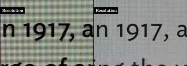 Foto del mismo texto en dispositivos del mismo fabricante pero de resoluciones muy diferentes. Naturalmente, el dispositivo de resolución mayor muestra la tipografía con mayor precisión