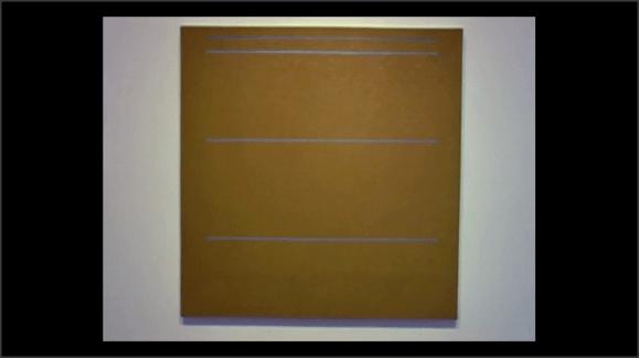 Cuadro abstracto. Tres líneas sobre un fonde de color uniforme