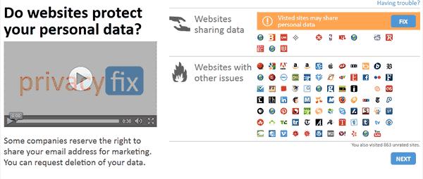 Captura de pantalla de los sitios web que me están monitorizando
