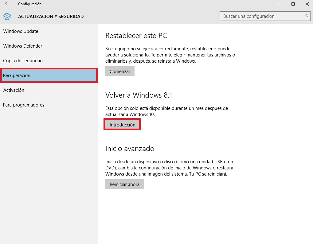 recuperacion e introduccion de windows 10