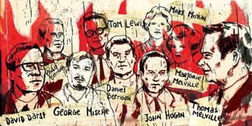 The Catonsville Nine - drawing by Okan Arabacioglu