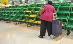 A shopper picks out the few remaining oranges at a supermarket in Madrid as shortages begin to bite