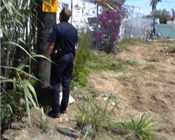 Voltaire Park Demolition - Cop looks on