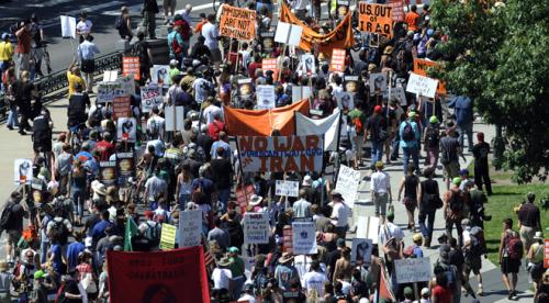 Marchers head down Colfax en-route to Pepsi Center as part of the Recreate 68 rally at the Capitol steps Sunday, August 24, 2008 in Denver. (John Leyba / The Denver Post)
