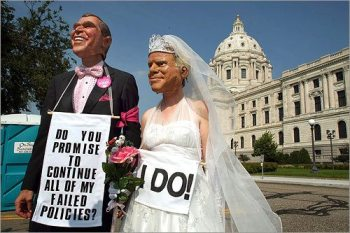 Jim Turpin and his wife, Heidi, from Austin, Texas, dressed as a Bush-McCain bride and groom outside the capital. (John Tlumacki / Globe Staff)