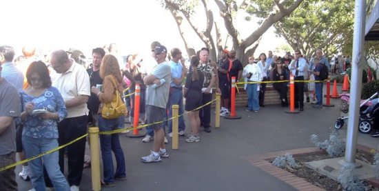 Early voters waiting at the Registrar of Voters.