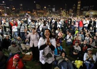 Grant Park in Chicago - Tuesday night - victory party