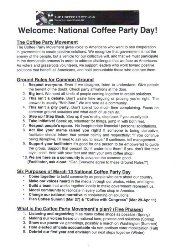 Coffee Party Rules