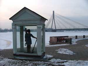 Big Christopher watches over Riga, latvia