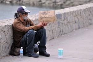 homeless guy w sign