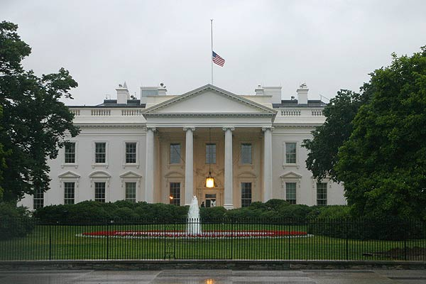 White House flag halfmast