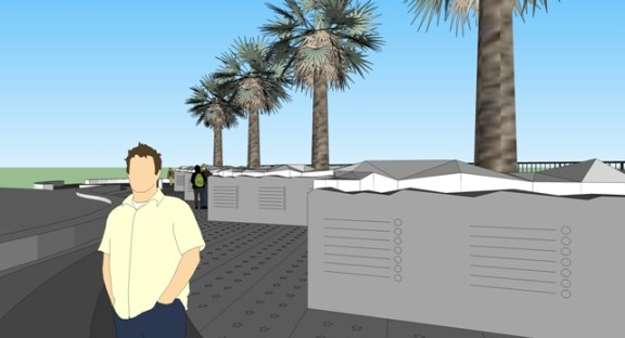 OB Vets Plaza Wall n trees