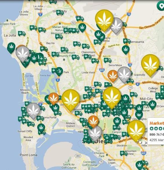 San Diego pot dispens map