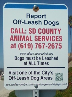 Sunset cliffs park dog sign