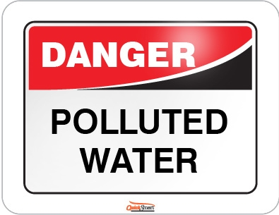 Sign danger pollted water