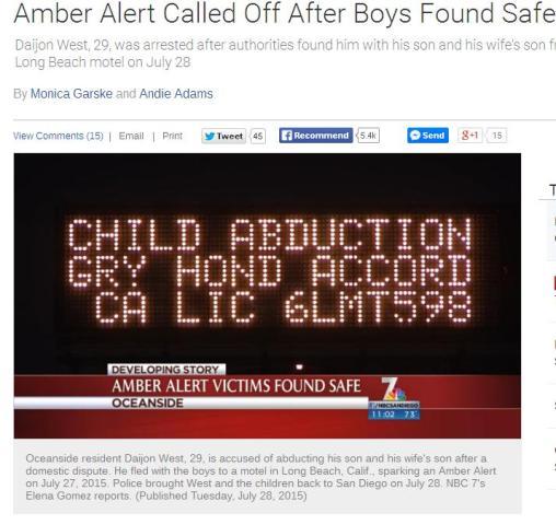 Amber Alert Oside July015