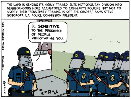 Ted Rall LAPD cart 4-20-15