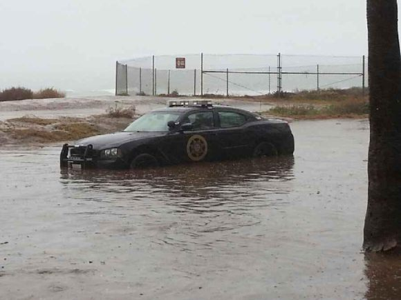 OB security car flooded