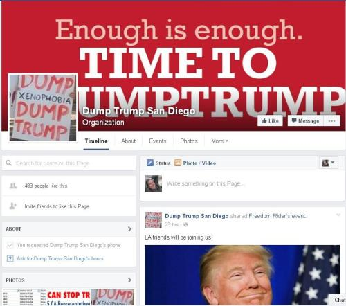 Screenshot of DumpTrump Facebook page