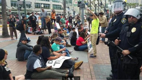 San Diego Trump protest sit-in, May 27, 2016
