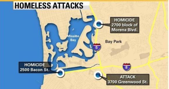 Homeless attacks July 2016 map