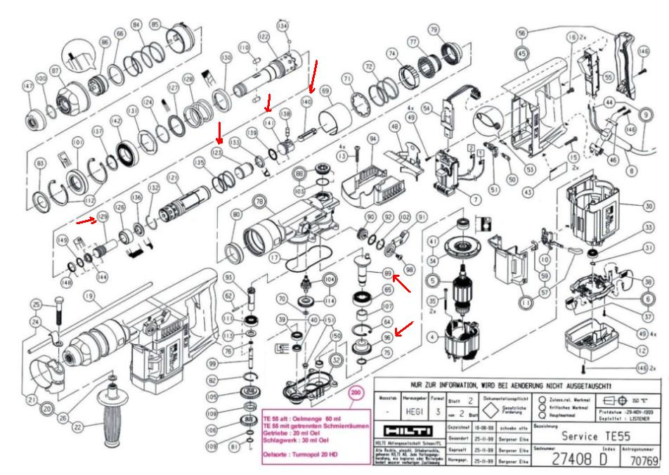 Hilti te 54 parts diagram