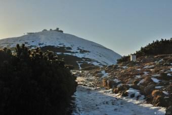 Krkonoše (inverze a západ slunce na Sněžce)