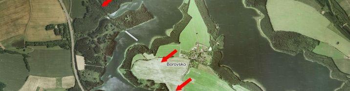 Zatopené mosty na letecké mapě