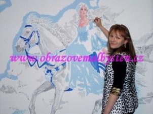 průběh malby na zdi