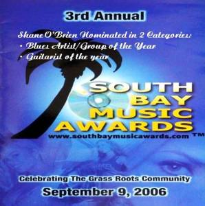 South Bay Music Awards 2007 Two Nominations for Shane O'Brien