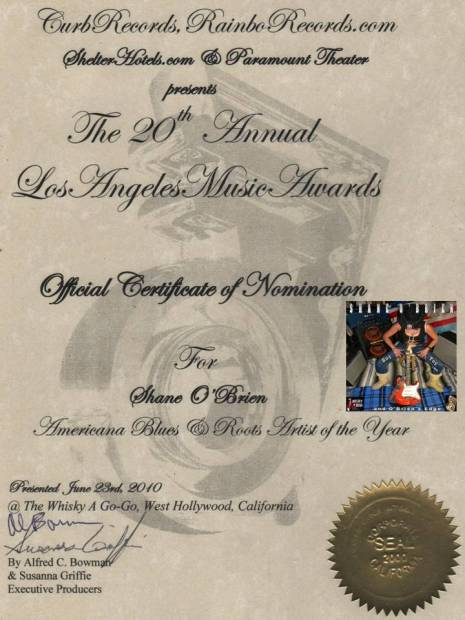 """Shane O'Brien Recieves 20th LA Music Awards Nomination Certificate"""