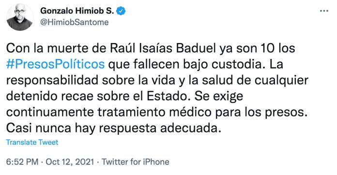 General Raúl Isaías Baduel muere por Covid 19 bajo custodia del Sebin 5