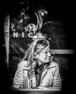 Portrait series of blond woman in a restaurant - part 1